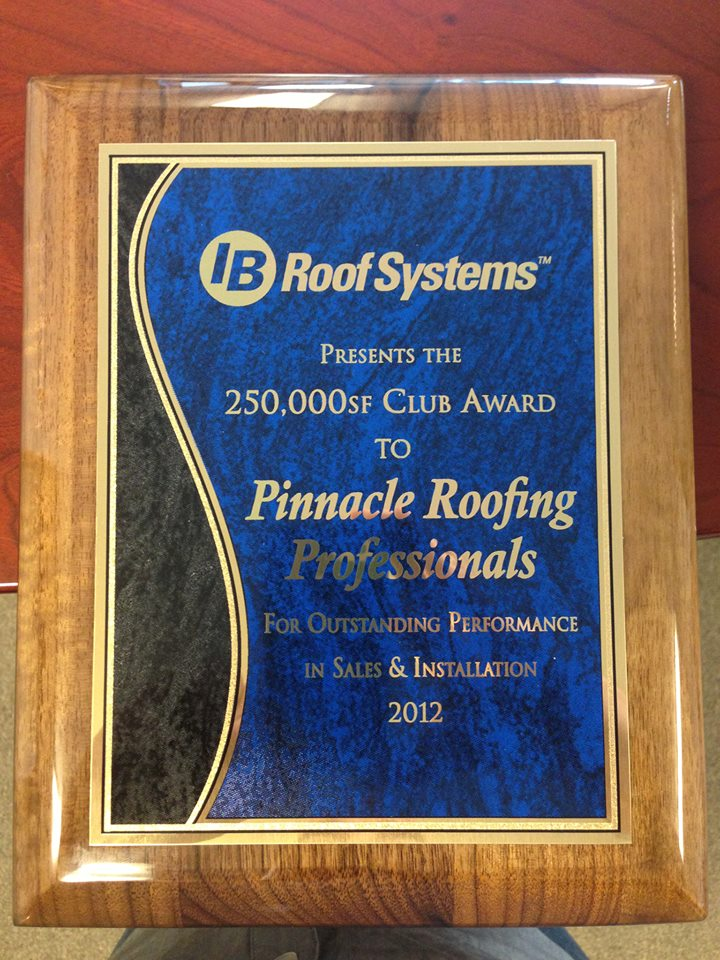 Ib Roof Systems Award Pinnacle Roofing Professionals