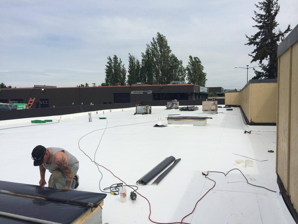 Flat Roof Project Commercial 60 Mil Ib Pvc Roof System